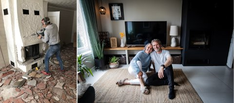 HAR HATT MANGE SENE KVELDER: Bente Ervik og Hans-Arne Løkken er glade for å være ferdig med den verste oppussingen, som blant annet innebar å rive to gamle peiser.