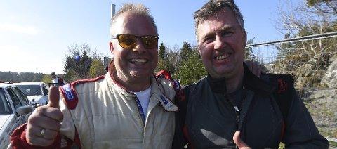GODE VENNER OG HARDE KONKURRENTER: Tom Kristian Lien (t.h.) og Mads Peder Hvambsahl kniver hardt om NM-gullet i nasjonalklassen i rallymesterskapet, som avsluttes på Hamar lørdag.FOTO: OLE JOHN HOSTVEDT