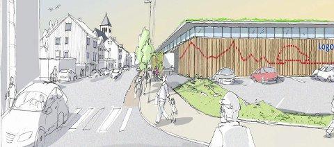 Miljøgate: Kommunen ønsker seg miljøgate i Sivert Nilsens gate. Illustrasjon: AMB arkitekter