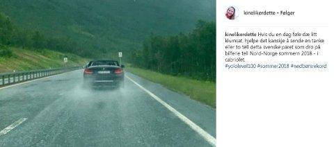 JAG ER BARE SVENSK: En morsom observasjon gjort i Lavangsdalen i Sommer-Tromsø.