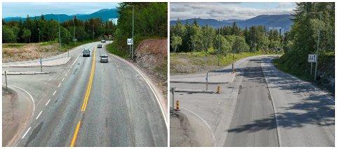 Erling Kjendsens veg i Tromsø venter på ny asfalt. Den ene kjørebanen er freset opp og gjort klar for asfaltering. Bildet er fra toppen av øya ved skibrua.
