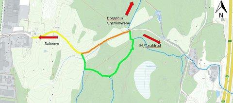 STENGER: Først blir den orange delen av Fløisbonnveien stengt, deretter den gule. Grønn strek illustrerer alternativ trase.