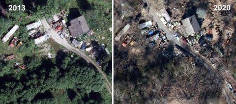 Villfyllinga på eiendommen ved Øyeren har pågått i svært mange år. Bildet til venstre viser eiendommen i 2013, mens bildet til høyre er tatt i fjor.