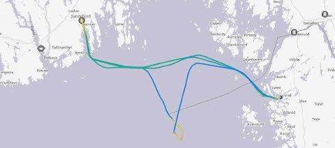 LETEAKSJON: Bildet viser bevegelsene til Color Hybrid, som endret kurs på vei fra Sandefjord til Strømstad for å bistå i en leteaksjon onsdag kveld. Ferja ankom Strømstad ved 21-tiden, halvannen time etter skjema.