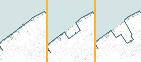 Disse tre alternativene var med i Multiconsult sin studie til muligheter for en havnepromenade i Egersund.