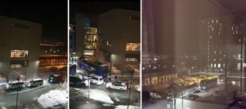 BUSS FOR TOG: Bilder tatt fra Bykvartalet borettslag under buss for tog på Drammen stasjon.