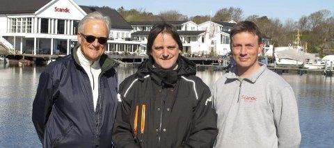 STRANDRYDDERE: Tre sentrale personer i lørdagens strandryddedag. Christian Stokke, styremedlem i Sydhavna Vel; Ole Christoffersen, teknisk sjef ved hotellet, og vaktmester Magne Langvik.