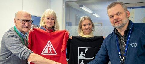 GRAFISK GRUPPE: Kristoffer Kristiansen, Nina Christensen Blakstvedt, Elin Aasheim og Erik Audun Utistog har utarbeidet de 75 nye symbolene.