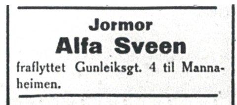 JORDMOR:  Annonse RD 5.desember 1921 . En måned  år etter  annonsen «Værelser til leie», rykker nå en  jordmor inn på huset.(foto TN)