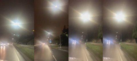 Gatelysene langs Rolvsøyveien har fått problemer lørdag kveld – og blinker fra Greåker til Stabburet.