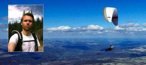 NY REKORD: Tom Salamonsen brukte syv timer i lufta da han svevde fra Bø til Åmot og tilbake. Her er bilde fra da han var på vei mot Folland ved en tidligere anledning.