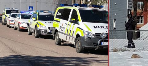STOR AKSJON: Væpnet politi rykket ut til Sem etter melding om høye smell fra en leilighet.