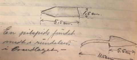 """FUNN: Fra Cato Engers dagbok II, 26. august 1925 mens han foretok utgravinger på Slottsfjellet: """"En pilspids fundet midt i rundelen i brandlaget."""""""