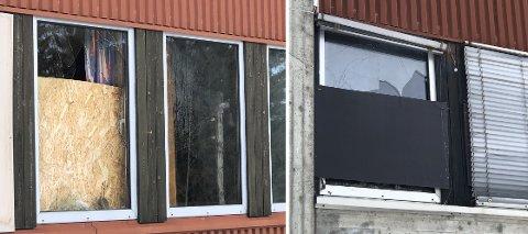 MANGE KNUSTE RUTER: Det begynner å bli mange knuste ruter på gamle Reinsvoll ungdomsskole. Torsdag kveld var vandaler på ferde igjen.