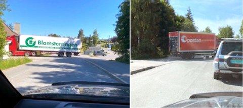 Lastebiler som må rygge over Kjensliveien og fortauet på vei inn til Extra-butikken på Flateby er ingen god løsning, mener Kai Nordhagen.