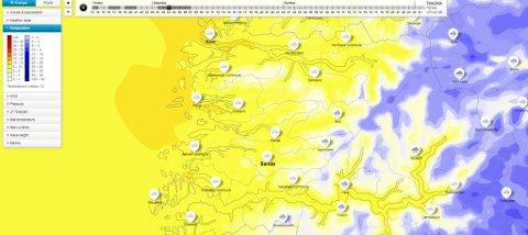 MILDVÊR FRÅ VEST: Kartet viser temperaturen ein ventar natt til laurdag. Dei mørkegule felta markerer temperaturar mellom ti og femten varmegrader.