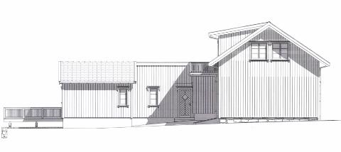 Fikk nei: Flertallet i planutvalget: Ap, SV og Sp, mener dette bygget bryter for mye med bygningsmiljøet på Nabbetorp. (Illustrasjon: Terje Olsen Arkitekttjenester/ Søknad til Fredrikstad kommune)