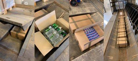 ULOVLIG LAST: Under gulvet, gjemt under 33 paller med lovlig importert øl, fant tollerne store mengder sigaretter og brennevin.