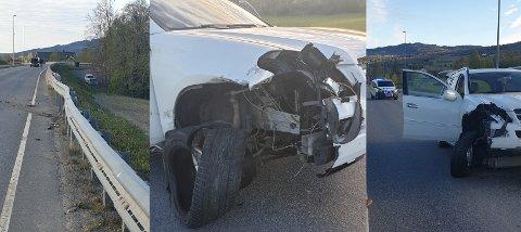 Slik så det ut etter at bilen først kjørte i grøfta, og deretter i autovernet, i Gausdalsvegen torsdag morgen.