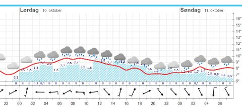 REGNFULL LØRDAG: Det kommer til å regne jevnt i Holmestrand lørdag, ifølge dette varselet fra Yr.no, sendt ut klokka 08 fredag.