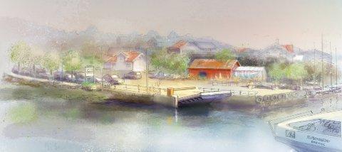 DAGENS FERGELEIE: Kunstneren Jonny Andvik har laget denne modellen av hvordan dagens eksisterende fergeleie på Sandøya kan gjøres til et fremtidsretta fergeleie for den nye ferga. Forslaget er å skifte fergelemmen og bygge ny rampe.