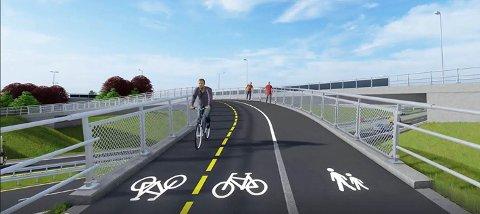 FERDIG I 2020: Slik blir den nye gang- og sykkelveien, som skal stå ferdig sommeren 2020.