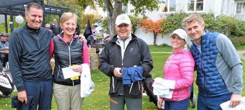 BEST: Vinnerne av årets «ekteskapsprøve» i Drøbak Golfklubb – fra venstre: Siri og Ingar Hole (2.plass), vinneren Ole Jostein Wilmann (her uten kona Liv) i midten, og ekteparet Camilla Bjørnesset og Christian Holter (3.plass) til høyre.