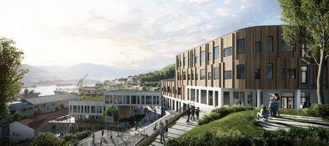 Omtrent slik kan nye Holen skole komme til å se ut. Illustrasjon: HUS arkitekter/Arkitektgruppen CUBUS/Brick Visual