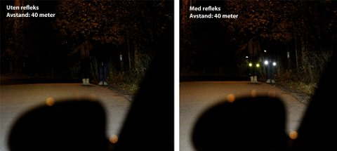 FORSKJELL: Sjølv med ein avstand på berre 40 meter er forskjellen med og utan refleks stor. Med refleks vert du synleg.