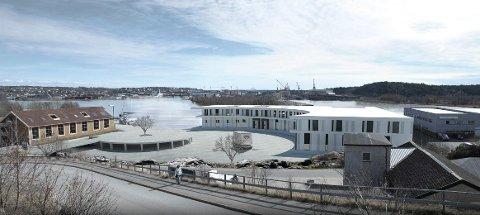 DET PLANLAGTE NYBYGGET: Slik skal det nye produksjonsbygget til Sleipner Motor på Bruket på Gressvik etter planen se ut. Tegning: Aart Architects