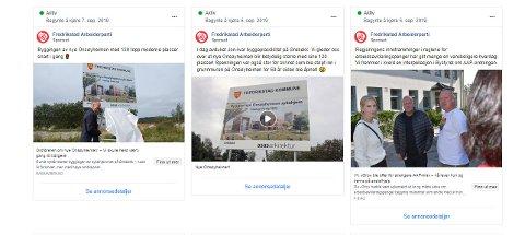 MANGE SPONSEDE INNLEGG: Arbeiderpartiet linker til både egne nettsider og til saker i lokale medier i sine sponsede innlegg på Facebook.
