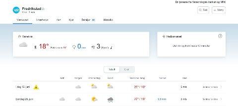 Yr.no oppdateres fortløpende. Slik så varselet for Fredrikstad ut litt etter klokken 9.30 lørdag.