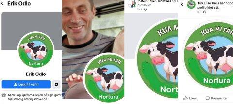 Flere lokale bønder tok i bruk denne logoen - men med ny tekst: Kua mi får Nortura. En opphetet debatt har pågått på Facebook om saken.