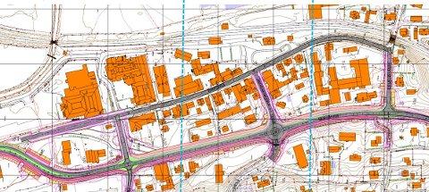 MILJØGATA: Gran kommune vil at arbeidet skal starte så fort som mulig, i nord. Samtidig utfordres fylket til slutte med festtaler og bevilge midler slik at hele strekningen kan gjøres ferdig. De blå strekene viser hvordan prosjektet er delt i tre.