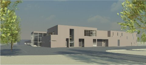 Slik blir det: Slik vil det kommende AIM-bygget på Rygge bli seende ut.