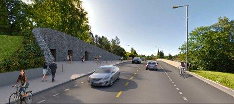 ØSTENSJØVEIEN: Slik skal det bli i Østensjøveien oppå tunnelen når alt er ferdig. Her er de oransje isolasjonspakkene mot det tekniske bygget dekket med jord og beplantet. Illustrasjon: Statens vegvesen