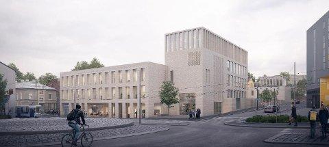 Skisse av nye Kirkens Hus sett fra rundkjøringen der Oslo gate, Konows gate og Kongsveien møtes.