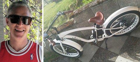 KOMMET HJEM: El-sykkelen til Dag-Christian Olsen, som ble stjålet mandag, er nå i trygge hender.