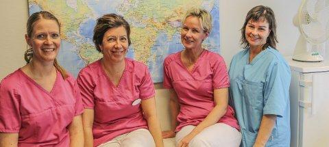 TAR DEG IMOT: Linda Munch-Olsen, Hilde Løvdal, Kristine Røgeberg og Berit M. Lien er noen av dem som jobber for at øyboerne trygt kan reise på ferie til eksotiske land.