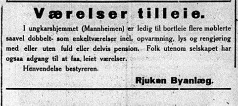 ROM TIL LEIE: Annonse Rjukan Dagblad 2.november 1921 (foto TN)