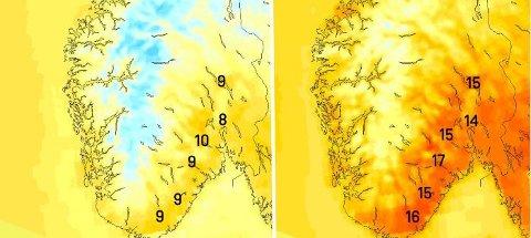 Det kan bli høye temperaturer på mandag (t.v.). Kommer det i tillegg fønvind (t.h.) blir det enda varmere.
