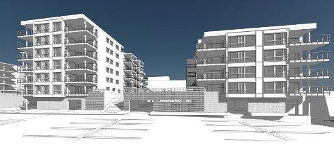 BOLIGKVARTAL: To nye boligkvartal skal bygges Lie og som i dag er parkeringsplassen ved Lietorvet. Slik ser boligblokkene ut fra inngangen til Lietorvet. SKISSE: BØRVE OG BORSCHENIUS