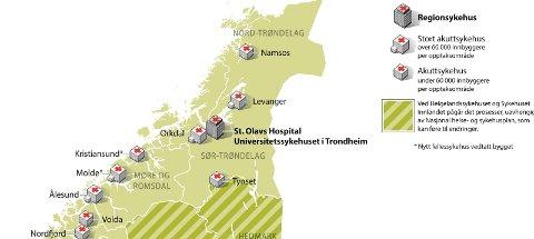 SYKEHUSKARTET: Sykehusene i Ålesund og Molde er nå likestilte som såkalt «stort akuttsykehus». ILLUSTRASJON: REGJERINGEN.NO