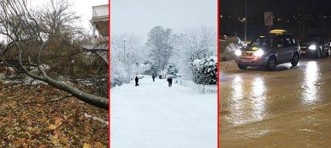 FOR ET VÆR! Vind, snø og regn har skapt trøbbel i Vestfold denne uka.