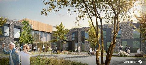 NYTT SYKEHJEM: Kommunen bygger nytt sykehjem på Hogsnes. Prislappen er nesten en halv milliard kroner. Illustrasjon: Norconsult