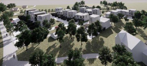 De planlagte boligene i Klokkerstuveien sett fra den gamle Torsnesveien. Fylkeskommunen synes omfanget er altfor stort, og har levert en innsigelse som setter stopper for et så stort boligprosjekt her.