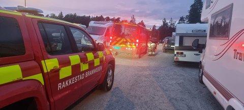 Brann: Fra utrykningen til Rudskogen i Rakkestad fredag kveld.