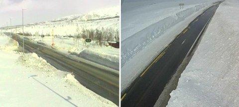 Slik var forholdene over Saltfjellet i 16-tiden torsdag ettermiddag. I løpet av kvelden kan det imidlertid bli stengt, etter at meteorologene har sendt ut farevarsel. Foto: Statens vegvesen/web-kamera