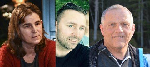 Kjersti Marken, Kim Roger Lervåg og Per Åge Mortensen minnes Guri Melleby (104), som er Aurskog-Hølands første koronaoffer.