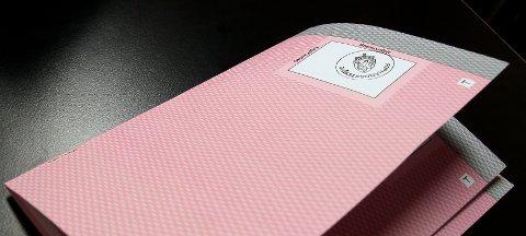 SEDDELEN: Slik ser stemmeseddelen ut. Den lyserøde er for kommunevalget. For fylkestingsvalget er den lik, men da med blå farge.